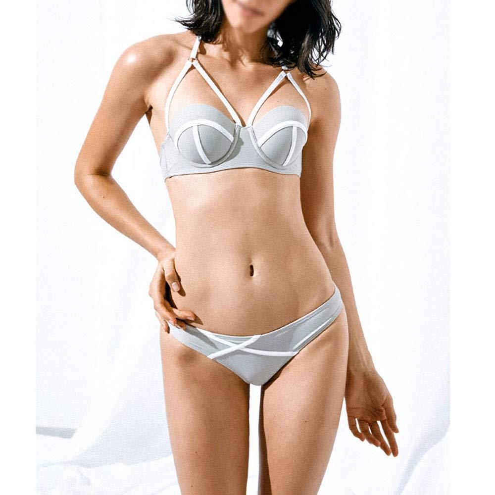 Women's Sexy Bikini Set   Open Back TwoPiece Swimsuit   for Swimming Pool Beach Spa, etc.   Grey
