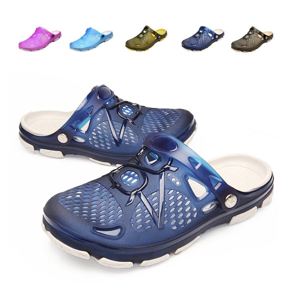 Techcity Unisex Garden Clogs Outdoor Walking Sandals Breathable Sport Slides Summer Non Slip Pool Beach Shower Slippers Shoes (US 8.5-9, Blue)