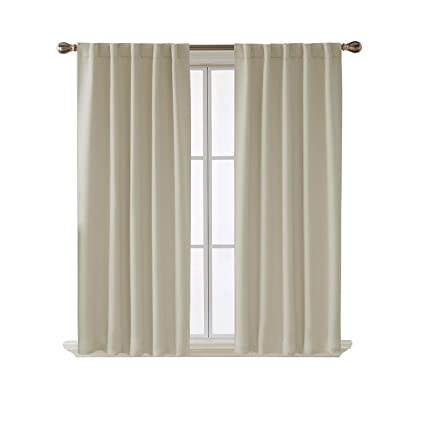 Amazon Com Deconovo Blackout Curtains Back Tab And Rod Pocket Curtains W X 54l Inch Light Beige Home Kitchen