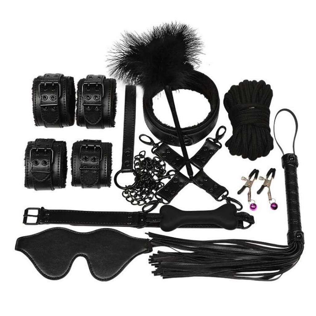 Luckly77 10 Pcs Women's Cosplay Club Costumes Leather Restraints Kit Alternative Toys with Handcuffs Mouth Plúg for Sex Play Tshirt (Color : Black) by Luckly77
