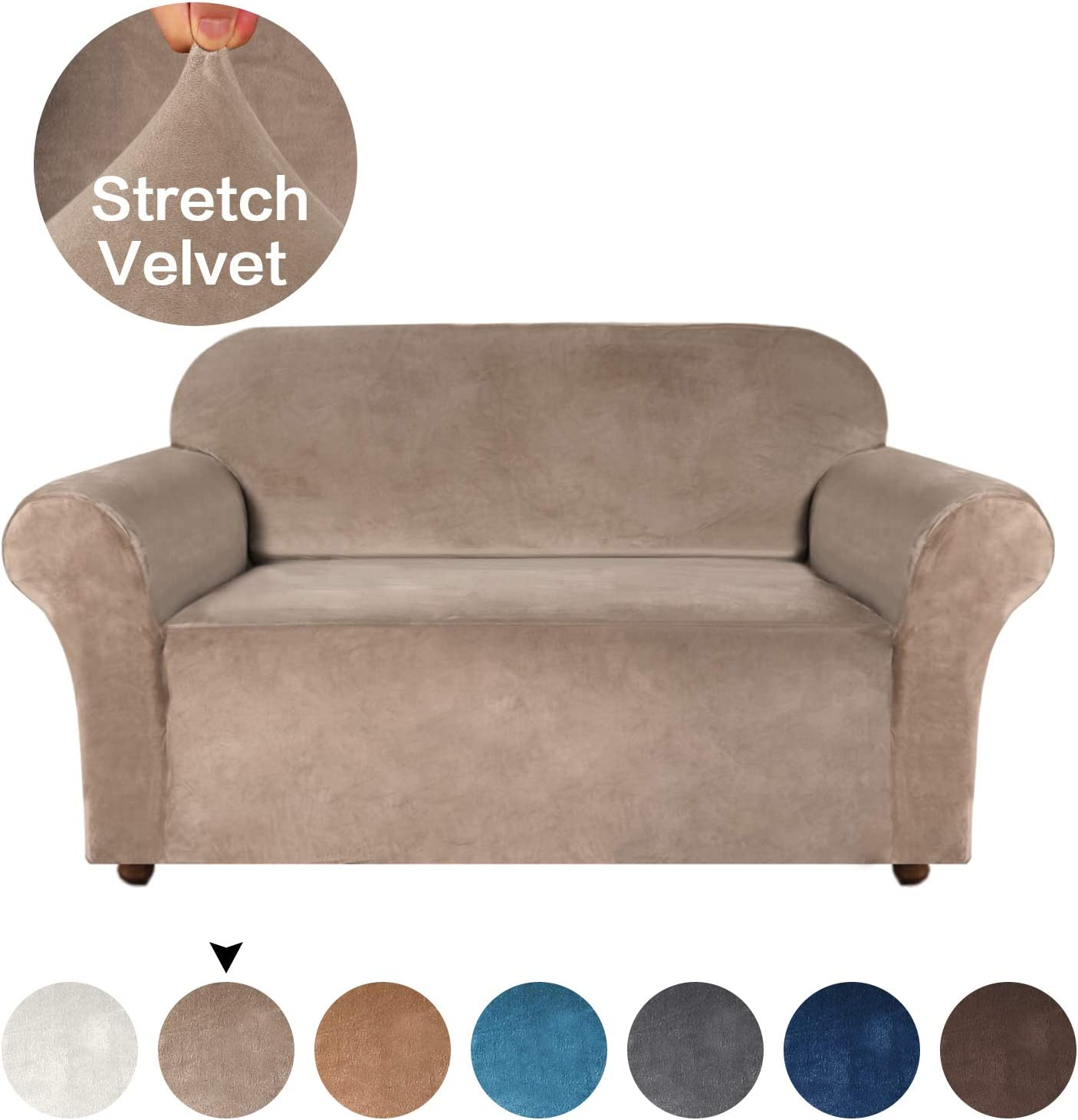 Turquoize Velvet Sofa Cover Stretch Furniture Cover Featuring Deluxe Plush Fabric Super Soft, Velvet Plush Sofa Protector Machine-Washable for Couch Slipcover Highly Fitness (Loveseat, Taupe)
