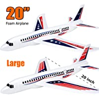 """BooTaa 2 Pack 20"""" Airplane Toys, Outdoor Kids Toys for Backyard, Large Foam Plane Glider, Outside Toys, Gifts/ Toys for 3 4 5 6 7 8 9 10 Year Old Boys Girls, Outdoor Yard Games for Kids Family Adults"""