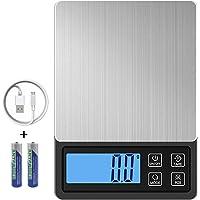 ZORSEN Báscula Digital para Cocina USB Recargable, 3000g/0.1g Balanza de Cocina de Acero Inoxidable Balanza de Alimentos…