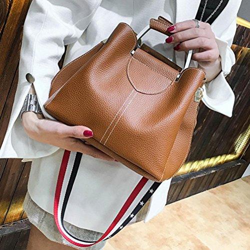 mujeres moda de de de de hombro Bolsos con el Crossbody la zarupeng de las de empalme bolso marrón del cuero bolso ApzWqv7