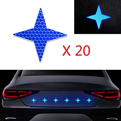 20x High Intensity Grade Reflective Safety Warning Tapes Stickers Self-Adhesive for Car Truck Motorcycle Bike Trailer Camper Helmet Fence Bags Four-Pointed Star Shape Blue: Automotive