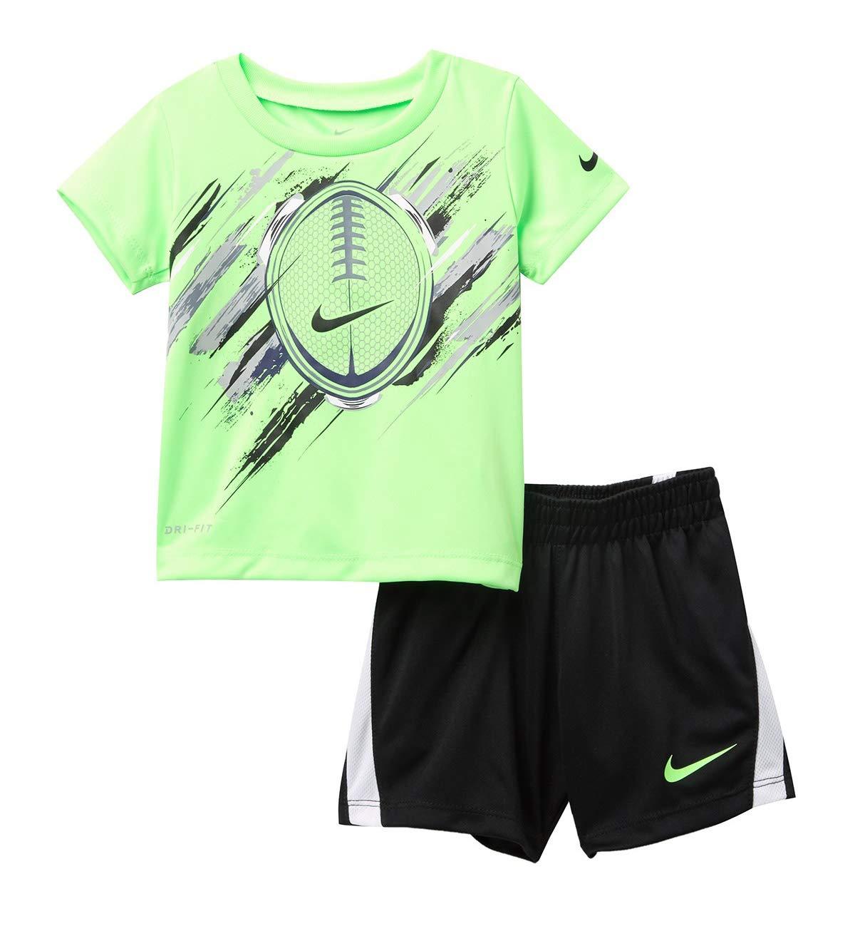 Nike Boy`s Dri-Fit T-Shirt & Shorts 2 Piece Set (Black(66E499-023)/Green, 12 Months)