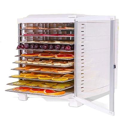 ZHAOHGJ Secador de Frutas con 10 Capas de Bandeja de Acero Inoxidable, Control de Temperatura