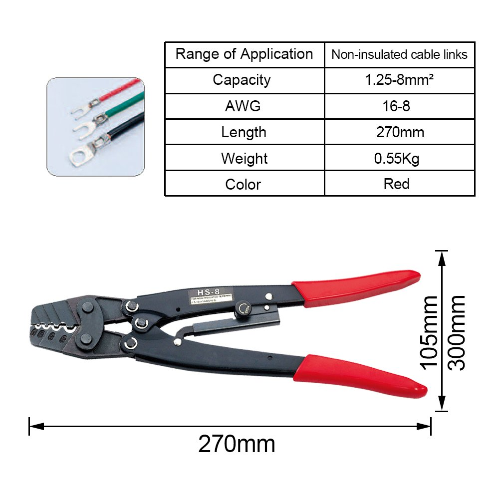 HAPDUX Ratchet Terminal Crimping Tool For non-insulated Terminals 18-14AWG