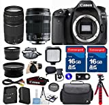 Canon 80D DSLR Camera with 18-135mm IS STM Lens + 75-300mm III Lens + 2pc 16GB Extremespeed Memory Cards + LED Light + Spider Tripod + Hand Grip Strap + Deluxe Case - International Version