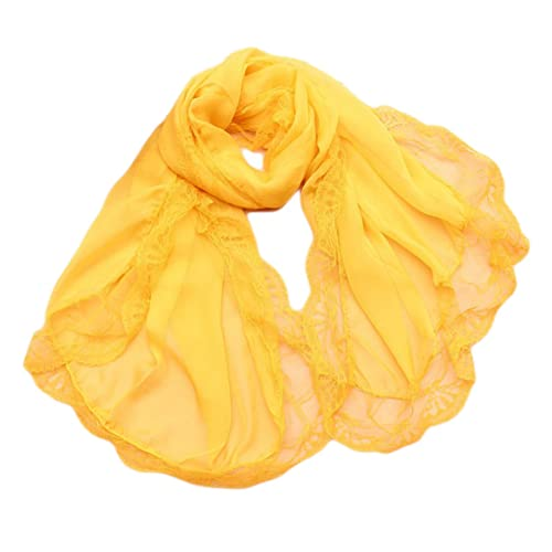 Donna Colore Solido Pizzo Chiffon Partito Stole Scialli Sciarpe Wrap(Giallo)