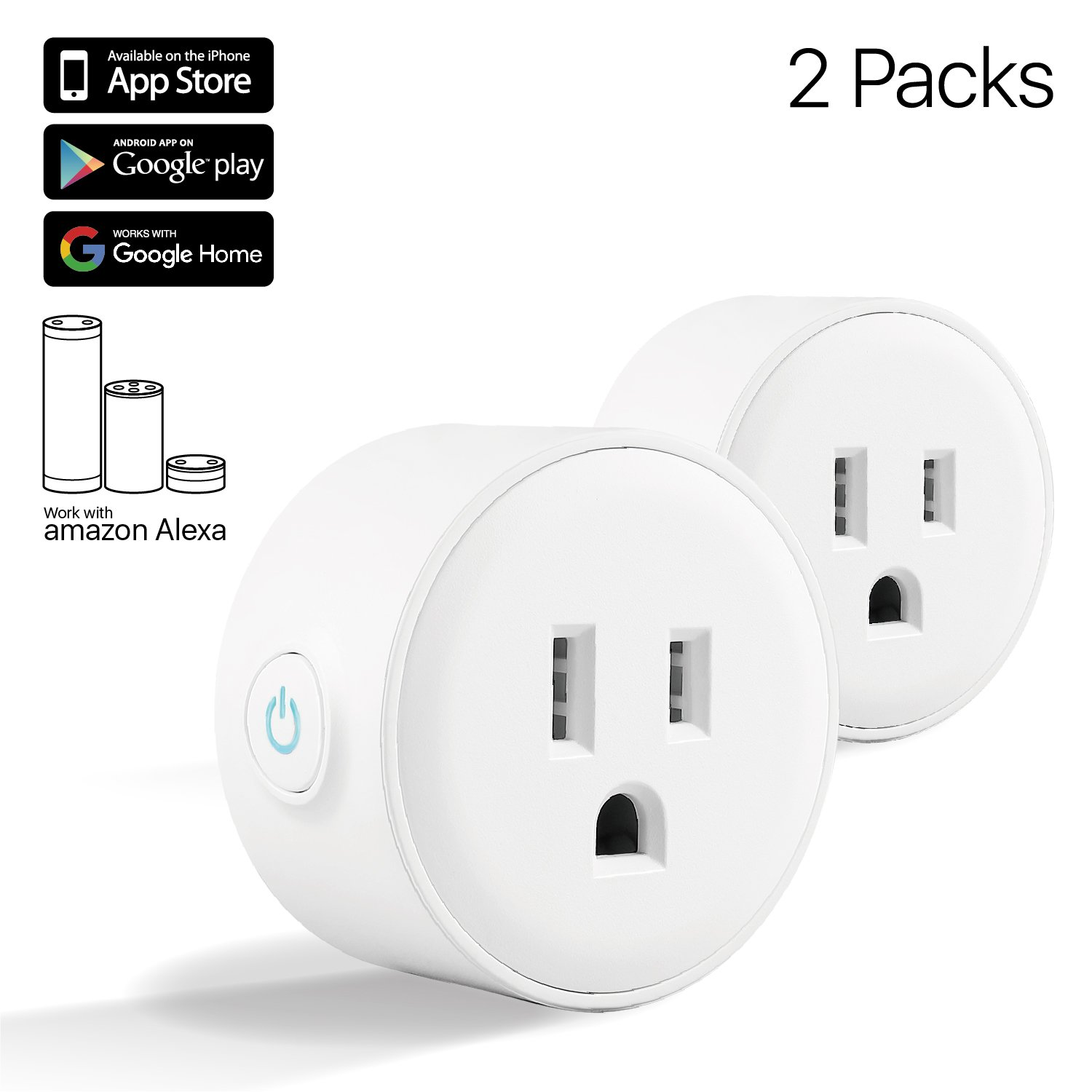 TNP Smart Plug Mini Wifi Outlet - Remote Control Smart Socket Wireless Compatible with Alexa Echo Google Home, No Hub Required, Indoor/Outdoor Timer Switch Socket Android, IOS (White) - 2 Pack by TNP Products