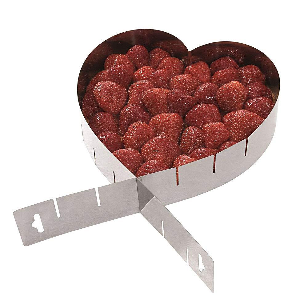 Mousse stampi pasticceria, anello in acciaio INOX a forma di cuore taglierina stampo di cottura strumento misura regolabile, durevole, innocuo per la salute cucina forniture Taglia libera Silver ShenYo