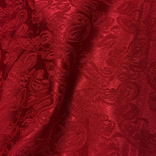 Red Paisley Design Jacquard Brocade Cotton Poly Fabric Sold by The Yard (Brocade Poly)