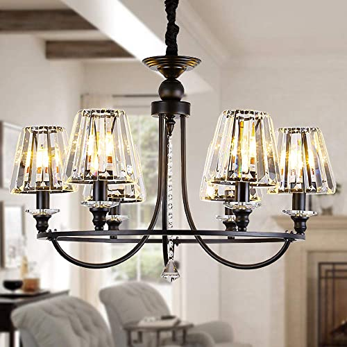OSAIRUOS 6 Lights Contemporary Crystal Chandeliers for Dining Room Modern Rustic Pendant Lighting Fixture Hanging Round Kitchen Island Bedroom Entryway Chandelier Matte Black W28.5