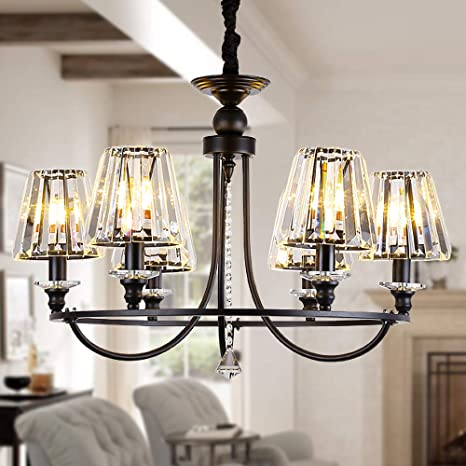Amazon Com Osairuos 6 Lights Contemporary Crystal Chandeliers For Dining Room Modern Rustic Pendant Lighting Fixture Hanging Round Kitchen Island Bedroom Entryway Chandelier Matte Black W28 5 Home Improvement