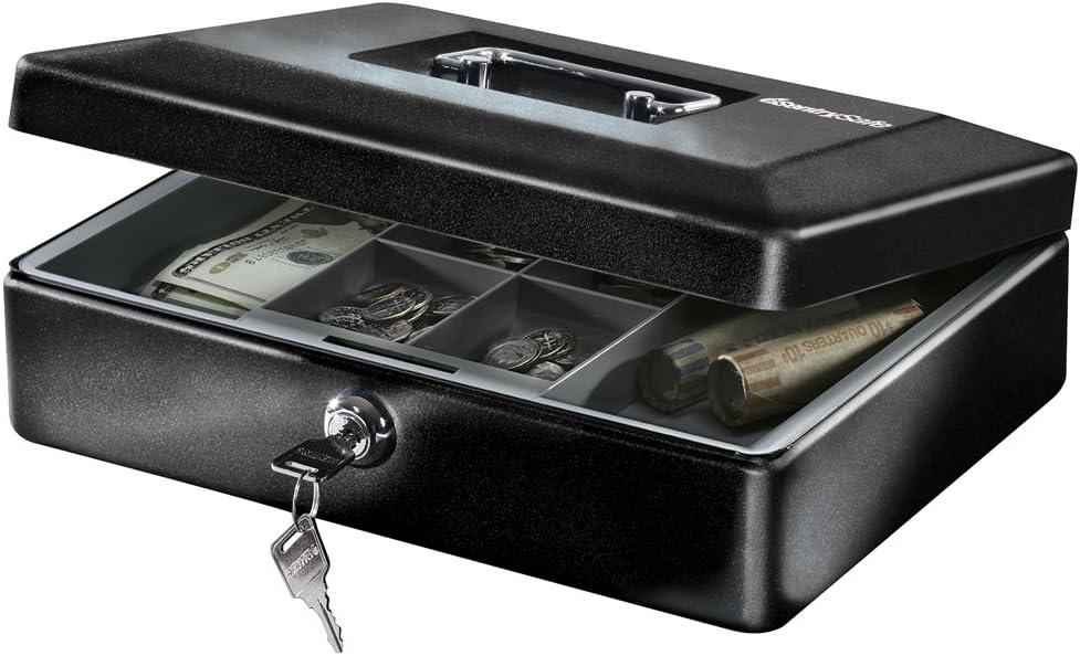 SentrySafe CB-12 Cash Box with Money Tray and Key Lock 0.21 cu Feet, Black