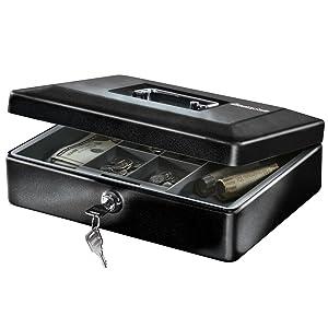 SentrySafe CB-12 Cash Box with Money Tray and Key Lock, 0.21 Cubic Feet, Black