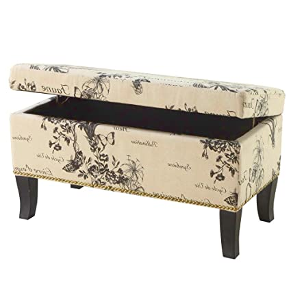 Amazoncom Efd Wooden Storage Ottoman Bench Modern Black White