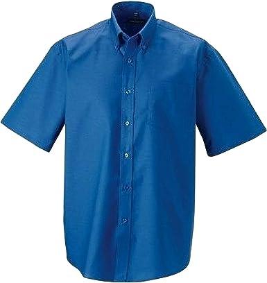 Russel Collection - Camisa de Manga Corta Cuidado facil Modelo Oxford Hombre Caballero - Trabajo/Boda/Fiesta: Amazon.es: Ropa y accesorios