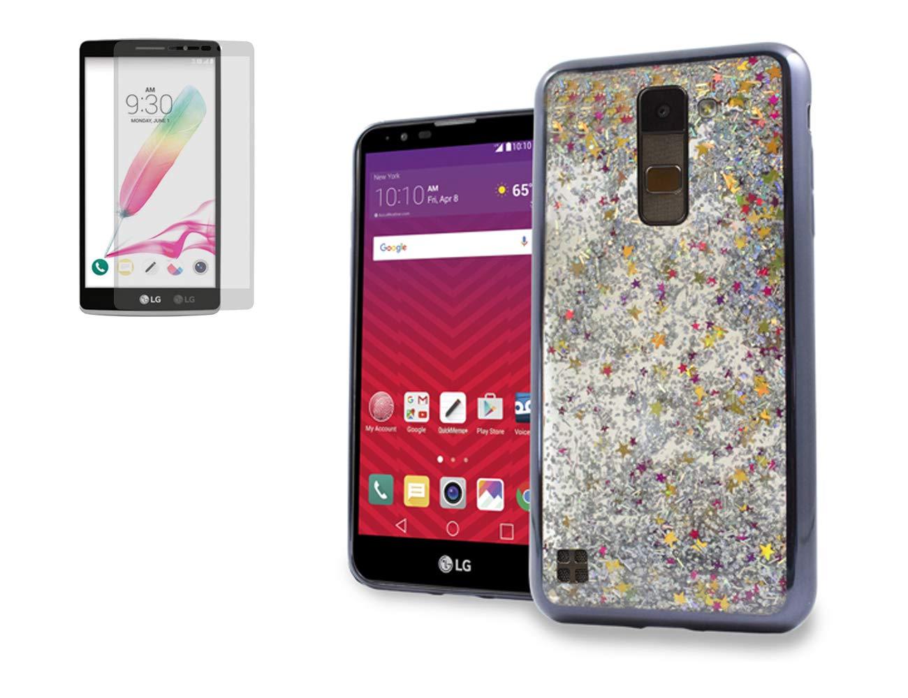 Tempered Glass+Waterfall Motion Liquid Quicksand Glitter Slip-Proof Flexible Rubber Case Cover for LG Stylo 2 / Stylo 2 V XLTE/Stylus 2 Phone (Black)