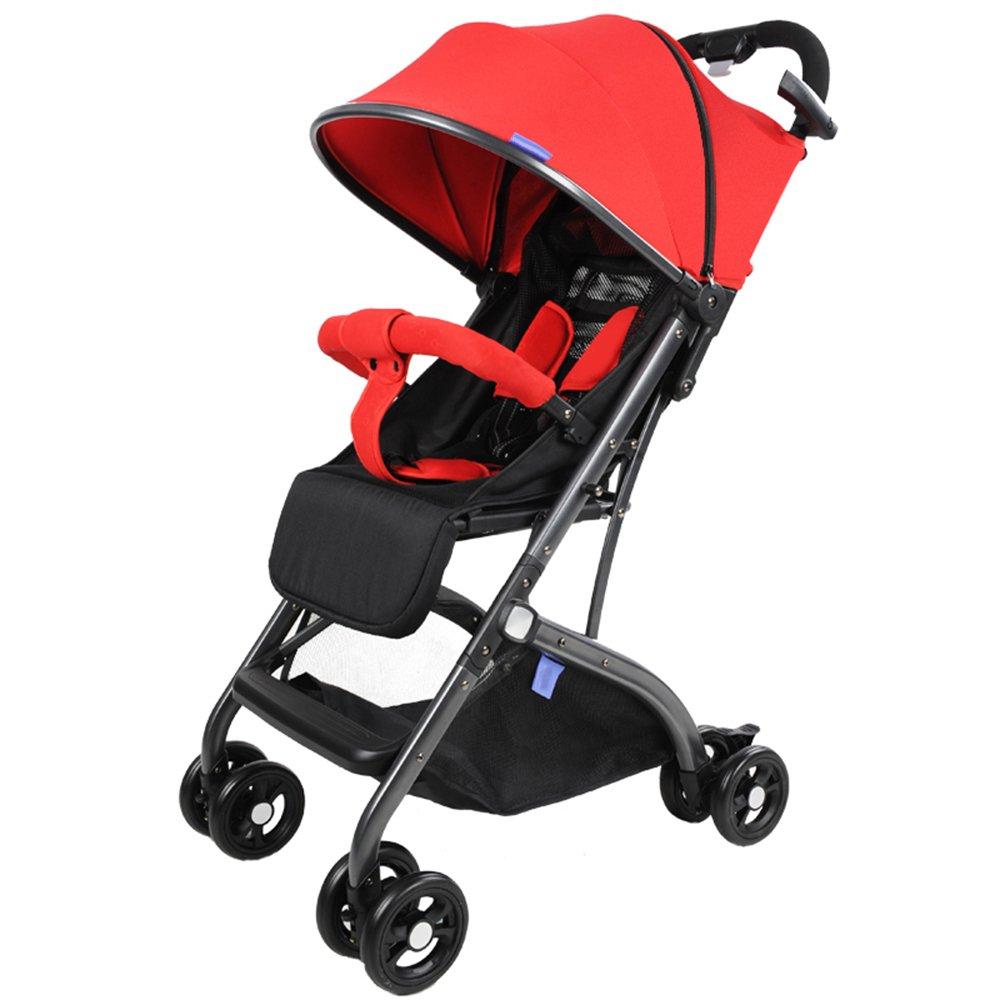 乳児用トロリー ベビーカート軽量でポータブル折り畳み式 座ることができますベビーベビーカーに横たわる  Red B07PS3DQJ9