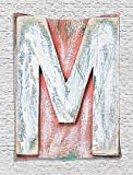 THndjsh Letter M Tapestry, Old Wood Capital Letter M Natural Worn Out Look Texture Language Image, Wall Hanging for Bedroom Living Room Dorm, 60 W X 80 L Inches, Coral White Cream