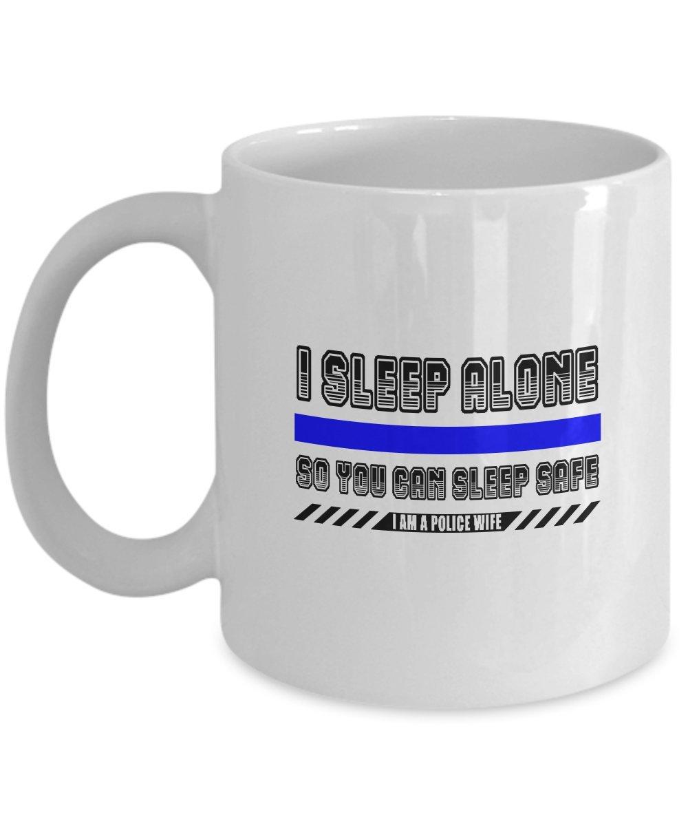 夫妻コーヒーマグ – I Sleep Alone You Can Sleep Safe警察妻セラミックカップ 15oz GB-1601044-43-White B0763GM368  ホワイト 15oz