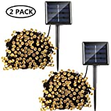 2 Pack Solar String Lights, 8 Modes Solar Powered Xmas Outdoor String Lights Waterproof Starry LED Fairy Lights for Indoor/Outdoor Gardens Homes Wedding Holiday Party (Warm White)