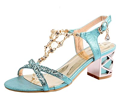 82313fd8d60 Vitalo Women s Open Toe Block Heel Dress Sandal - T Chain Glitter Cute Shoes  - Cross