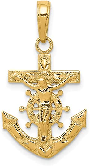 Details about  /14K Yellow Gold and Rhodium Cross Anchor Captain Wheel Pendant