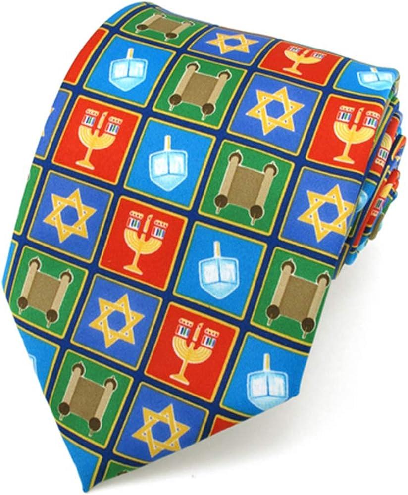Jacob Alexander Boys' Prep Happy Hanukkah Squares Star of David Menorah Dreidel Scroll Regular Length Neck Tie