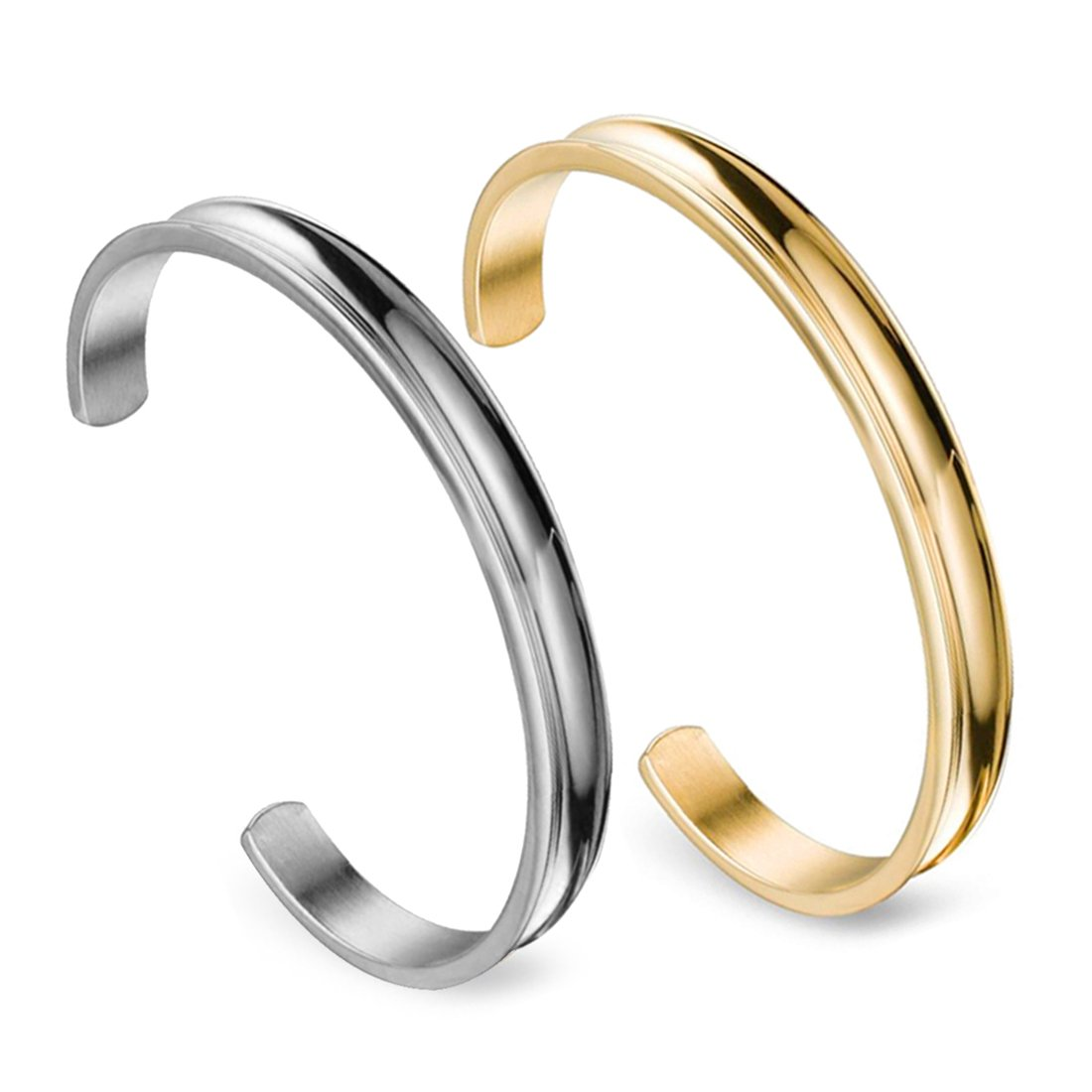 ZUOBAO Stainless Steel Bracelet Grooved Cuff Bangle for Women Girls (Silver+Gold)