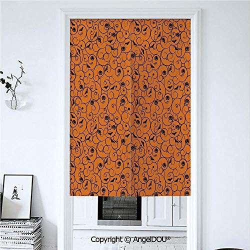 AngelDOU Halloween Home Doorway Curtains Decorative Screen Floral Swirls with Dots Little Bats Open Wings and Pumpkins Seasonal Pattern for Hallway Kitchen Hotel Restaurant. 33.5x59 inches -