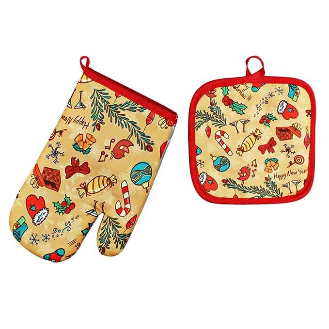YiGo Guantes De Navidad Microondas Horno Santa Claus Patrón Guante ...