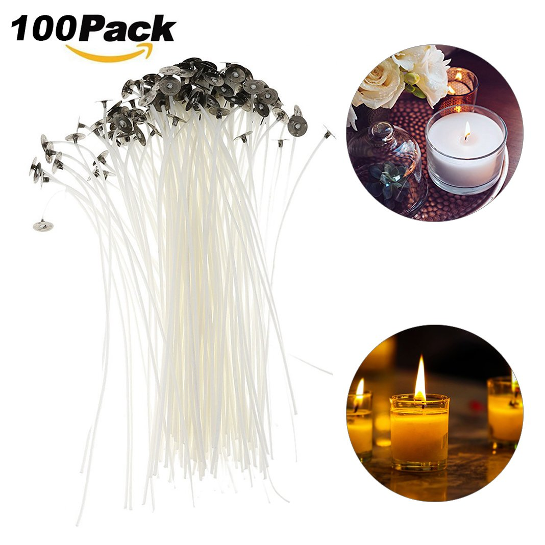 Moon mood Pre Waxed Wicks For Candle Making, 50 Pieces Candle Wicks DIY Candle Making Accessories With Sustainers (15cm)