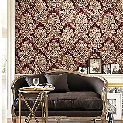 HaokHome 29005 Vintage Damask Wallpaper Rolls Crimson/Taupe/lt.Gold Luxury French Victoria Home Interior Bedroom Decoration 20.8