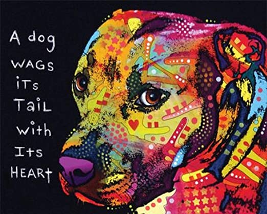 Beware of Pit Bulls by Dean Russo Animal Contemporary  Print Poster 16x20