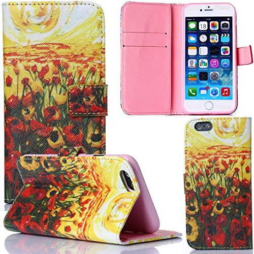 iPhone 6 Case,Dteck(TM) Luxury Slim Fashion Colorful Oil Painting Pattern [Cards/Cash Holders] Premium PU Leather Flip Stand Wallet Cover Case for Apple iPhone 6 4.7 inch (1 Hawthorn Tree)
