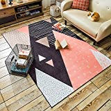 Wolala Home Cow Striped Polka Dot Geometry Girl Boy Room Area Rug Smooth and Soft Washable Non-slip for Baby Crawling Rug (4'6×6'6, Multi)