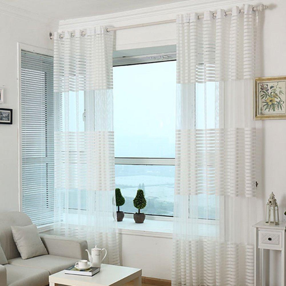 LianLe Tenda Voile Tulle Finestra Tenda per Balcone soggiorno camera da letto 100x270cm(Beige)