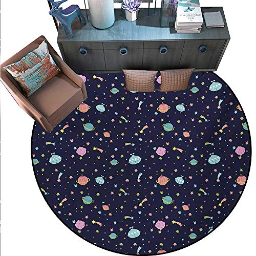 Space Round Floor Cover Alien Planets Shooting Stars Polka Dots Galaxy Heavenly Bodies Asteroid Door mat Indoors Bathroom Mats Non Slip (71