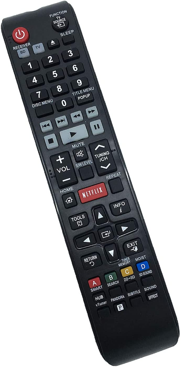 Replaced Remote Control Compatible for Samsung HT-E5500W HT-E3500 HTE4500ZA HT-EM53C HT-EM53C/ZA HT-E3500/ZA HTE5400/ZA Home Theater DVD TV BD Blu-ray Home Theater System