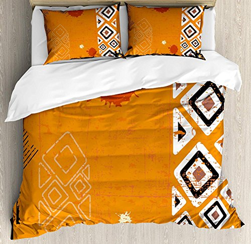 (Tribal 4 Piece Bedding Set Duvet Cover Set Queen Size, Ethnic African Design with Bold Lines Geometric Triangles Artwork Image, Luxury Bed Sheet for Childrens/Kids/Teens/Adults, Black Orange and White)