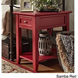ModHaus Living Modern Wood Accent End Table Night Stand with Power Strip1 Drawer and Storage Shelf - Includes Pen (Red)