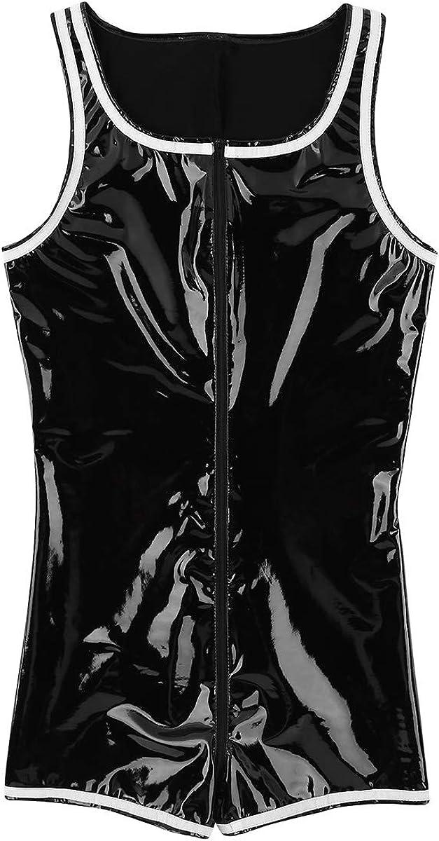 inlzdz Mens One-Piece Shiny Metallic PVC Leather Zipper Boxer Briefs Leotard Bodysuit Jumpsuit
