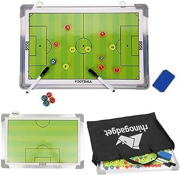 Rhino Gadget Pizarra magnética para entrenar fútbol táctica 2 doble cara con marcadores de jugador, bolígrafo, borrador portátil verde 45 cm x 30 cm con bolsa de transporte con cremallera: Amazon.es: Deportes