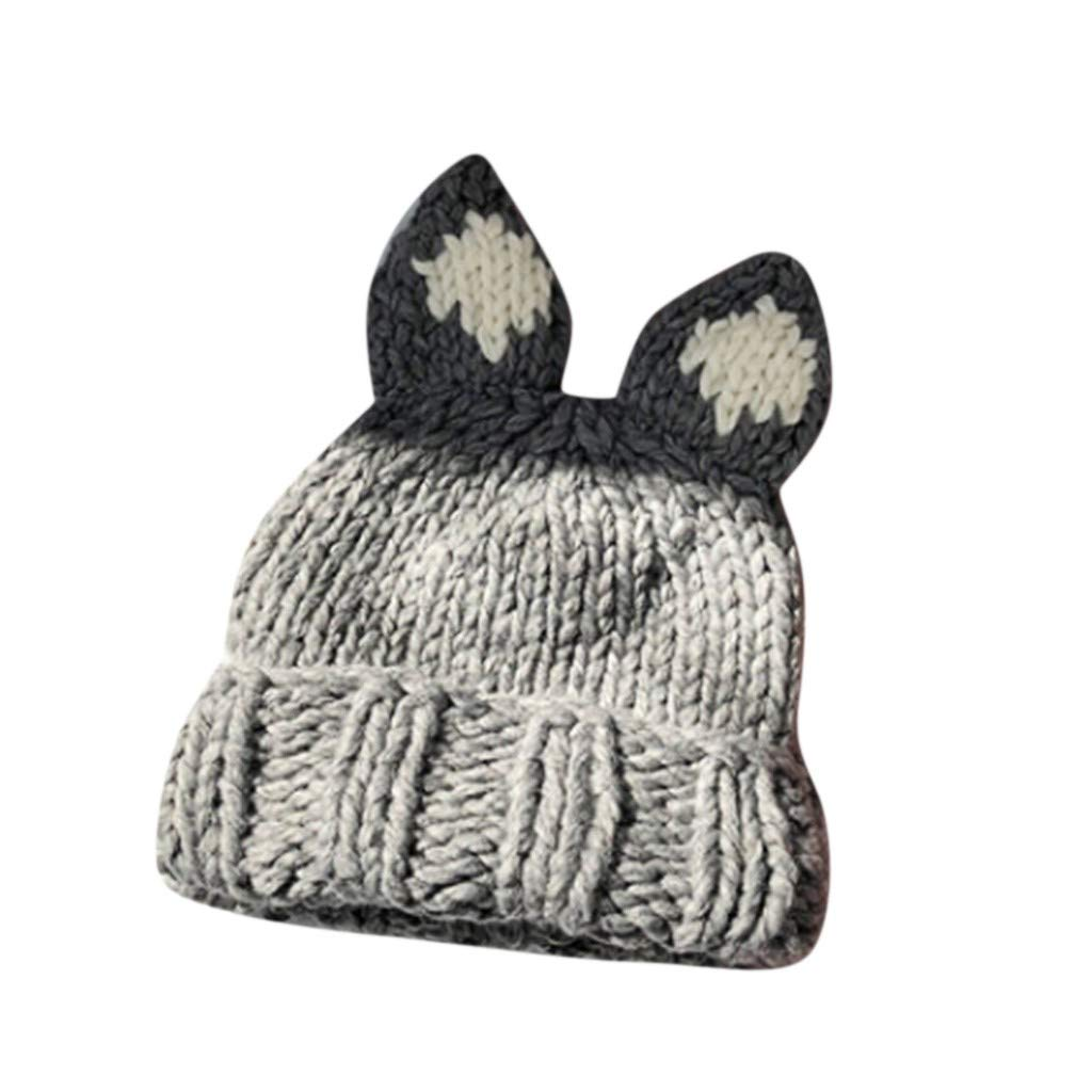 QIUUE Women Winter Warmer Stretch Knitted Cap Beanie Hats Hairball Beanies for Boys Girls Knitting Wool Thick Baggy Snow Hat by QIUUE