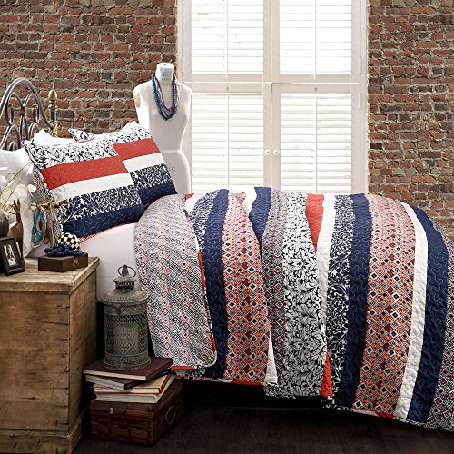 Lush Decor Lush Décor Boho Stripe 3Piece Quilt Set, Full/Queen, - Orange Navy And Blue