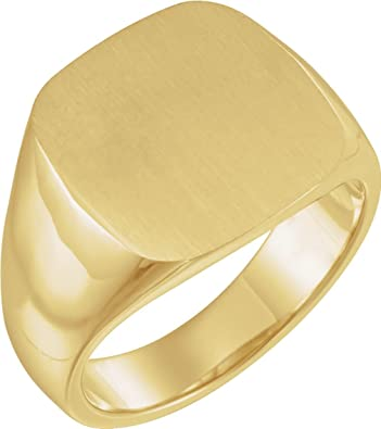 146bc80d4bf55 Men's Closed Back Square Signet Ring, 18k Yellow Gold (16mm)|Amazon.com