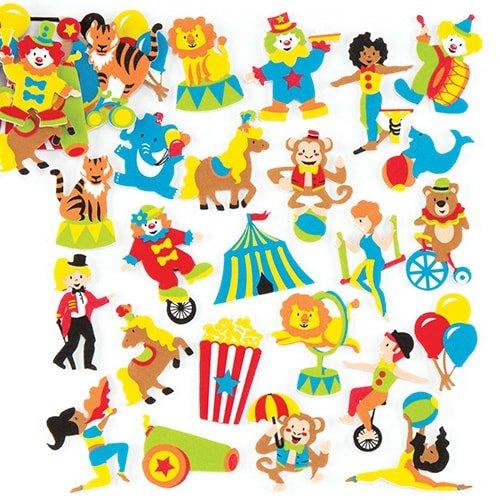 Baker Ross- Pegatinas de Espuma con Motivos del Circo (Pack de 120) para Que los niños decoren Manualidades, Tarjetas y Libros de Recortes